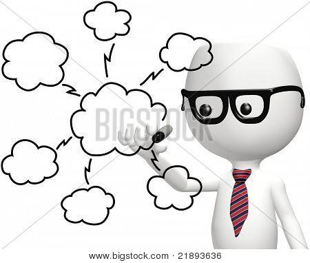 Elegante del diagrama del plan de tecnología de la computación en nube dibujo programador