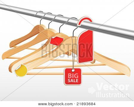 Wooden hangers with sale tags and stickers. Vector illustration.