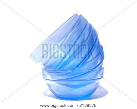 Stacked Blue Glass Bowls