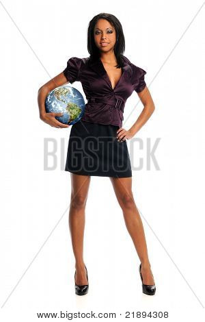 beautiful african American businesswoman holding planet earth standing isolated over white background