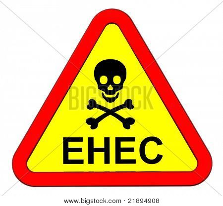 EHEC - warning sign. Computer generated 3D photo rendering.