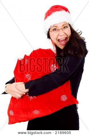 Happy Female Santa With Gifts