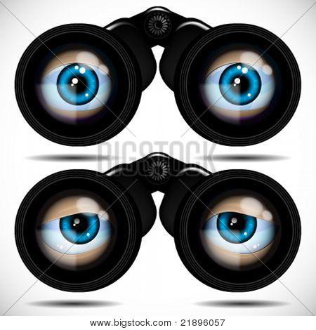 Ojos azules mirando a través de binoculares. Diferentes emociones.