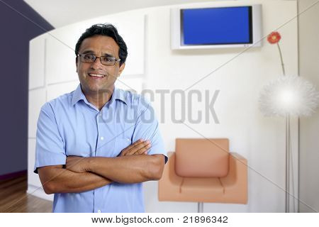 Indian latin business confident man modern office interior portrait