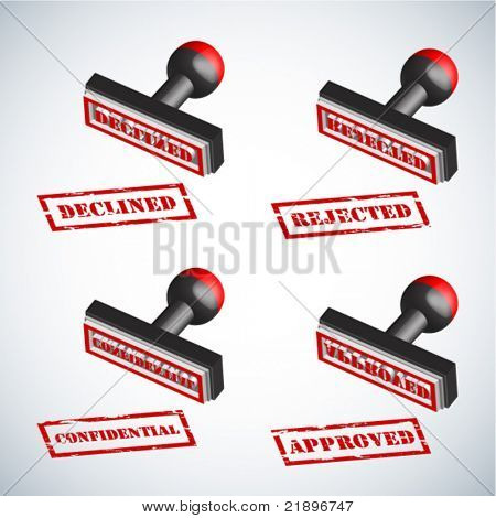 3D Rectangle Rubberstamp Vector Illustration