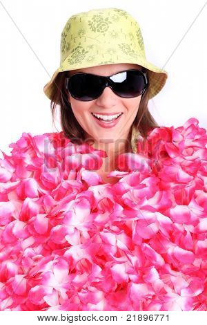 A picture of a happy woman covered with hawaiian necklaces ready for holidays over white background