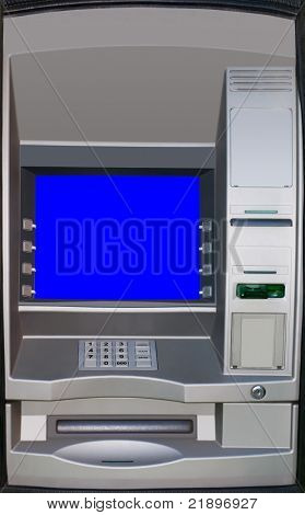 Automatic teller machine. ATM screen is isolated with clipping path