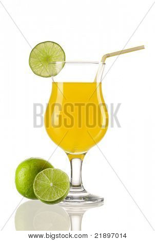 Cocktail with lime garnish isolated on white
