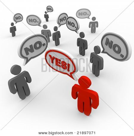 Many people talking at the same time, voicing their dissatisfaction or disapproval with the word No repeated in several speech bubbles, while one sole person saying Yes