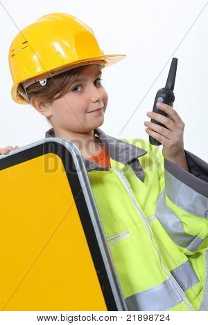 Child dressed up as a construction worker