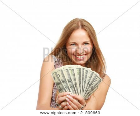 A young woman with dollars in her hands, isolated on white