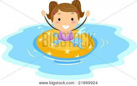 Illustration of a Girl Wearing a Flotation Device