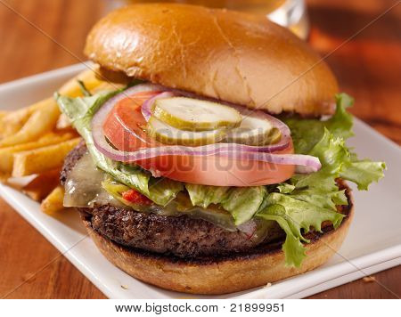 gourmet cheeseburger served open faced with selective focus on burger