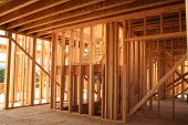pic of 2x4  - New home construction view of framework and stairs