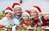 Affectionate grandparents and grandchildren looking at camera during Christmas celebration at home poster