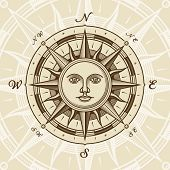 stock photo of wind-rose  - Vintage sun compass rose in woodcut style - JPG