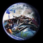 stock photo of eastern hemisphere  - A large pile of garbage double exposed on the planet earth  - JPG