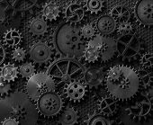 Metal gears and cogwheels steam punk background 3d illustration poster