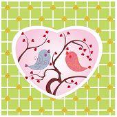 Постер, плакат: две птицы играть на деревьях