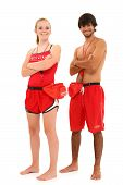 picture of lifeguard  - Boy and girl teen lifeguards in uniform over white background smiling with clipping path - JPG