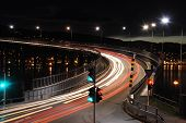 foto of tromso  - Traffic light at night in Tromso - JPG