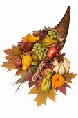 image of horn plenty  - Cornucopia filled with fall harvest spilling out of it - JPG