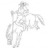 picture of bronco  - illustration of rodeo cowboy riding bucking horse bronco on isolated white background done in black and white cartoon style - JPG