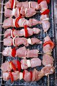 fresh raw turkey pork red meat fillet shish kebab on wooden skewers over vintage kind brazier full w poster