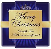 Ornate Blue and Gold Christmas Label with room for your own text. Please see my color variations on