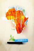 picture of rastaman  - abstract illustration of the continent Africa - JPG