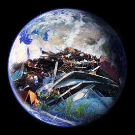 image of eastern hemisphere  - A large pile of garbage double exposed on the planet earth  - JPG