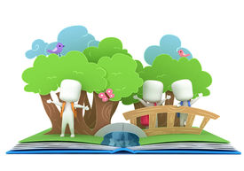 picture of pop up book  - 3D Illustration of Kids Popping Out of a Pop Up Book - JPG
