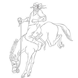stock photo of bucking bronco  - illustration of rodeo cowboy riding bucking horse bronco on isolated white background done in black and white cartoon style - JPG