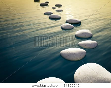 An image of some nice step stones in the evening sea