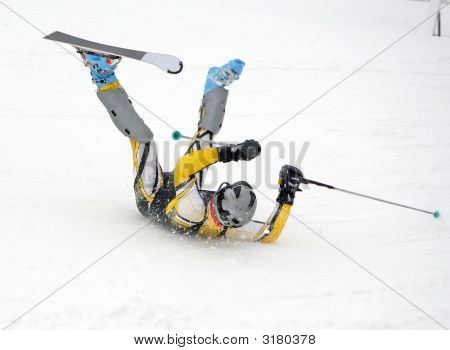 Skier Wipes Out