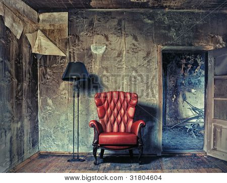 luxury armchair in grunge interior (Photo compilation. Photo and hand-drawing elements combined.)