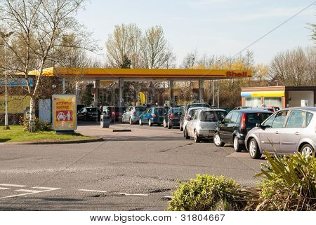 TELFORD, UK-MARCH 29: Petrol queues, motorists face long queues and fuel shortages following a UNITE Union strike threat by tanker drivers on MARCH 29, 2012 in Telford, UK