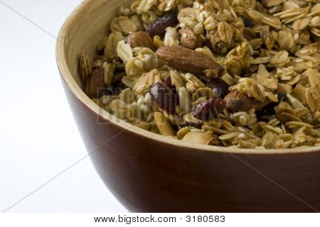 Bowl Of Natural Granola With Cranberries And Almonds