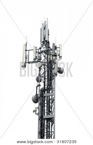 Signal transmitter tower isolated on white