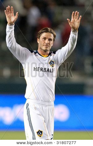 CARSON, CA. - APRIL 23: Los Angeles Galaxy M David Beckham #23 during the MLS game between the Portland Timbers & the Los Angeles Galaxy on April 23, 2011 at the Home Depot Center in Carson, CA.