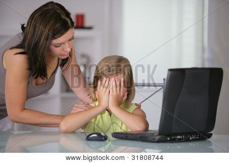 Little girl at a laptop