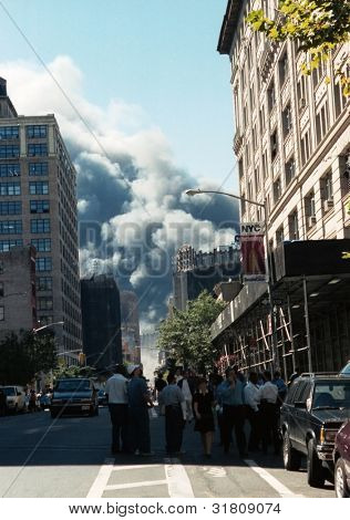 NEW YORK - SEPTEMBER 11: Smoke billows from the area known as Ground Zero after the collapse of the Twin Towers on September 11, 2001 in New York City.