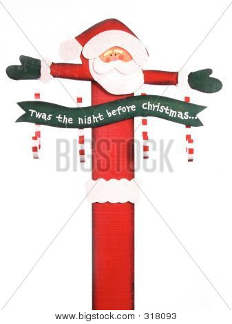 Wooden Tole Painted Santa Claus