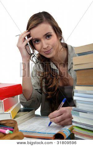 Female student studying hard