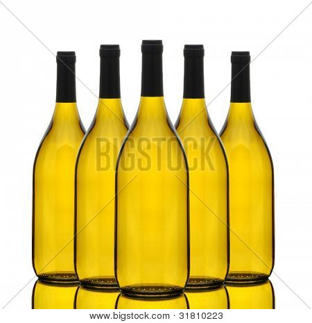 A group of Chardonnay wine bottles without labels over a white background with reflection.