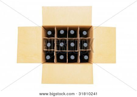 Overhead view of a twelve bottle case of red wine over a white background. Box is open with the flaps extended.