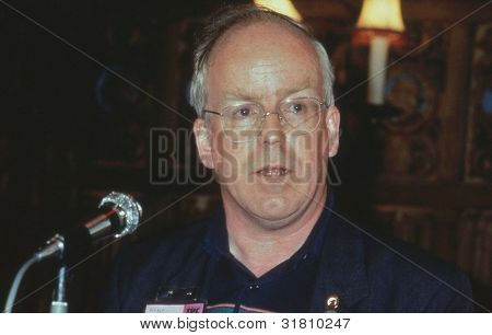 BLACKPOOL, ENGLAND - SEPTEMBER 4: Mike Grindley, Chairman of the GCHQ Trade Union Rights Campaign, speaks at a meeting at the Trades Union Congress on September 4, 1989 in Blackpool, Lancashire, England.