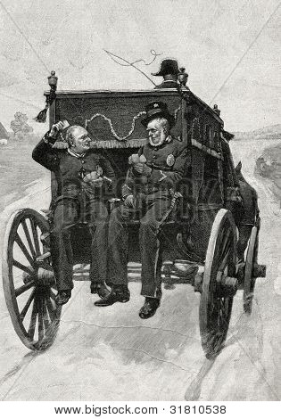 "Returning from the funeral. Engraving by Tiria  from picture by Brispo. Published in magazine ""Niva"", publishing house A.F. Marx, St. Petersburg, Russia, 1899"