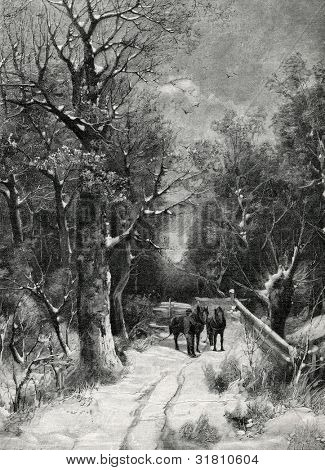 "In the woods. Engraving by Bong from picture by Kaufman. Published in magazine ""Niva"", publishing house A.F. Marx, St. Petersburg, Russia, 1899"