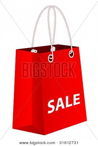 Red shopping bag with word sale, vector